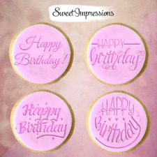 Happy Birthday embosser stamp, cookie cutter, fondant cupcake decoration baking