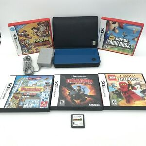 Nintendo DSi XL Midnight Blue Bundle 6-Games Charger &  Mario Games,leather Case