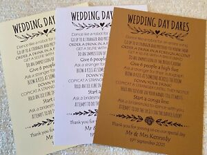 Wedding Day Dares Cards - Wedding games favours table decorations