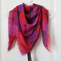 """NWT COACH Red Rose Campbell Floral 40"""" Square Body Wrap Scarf NEW $128"""