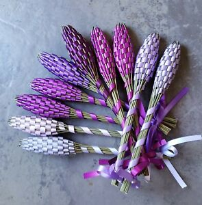 Lavender Filled Wands Gift Set of 10 Small Fragrant Dried Flowers Purples