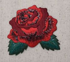 Single Red Rose - Open Petals - Flower - Iron on Applique/Embroidered Patch