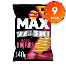 9 x Walkers Max Double Crunch Bold BBQ Ribs Crisps 140g