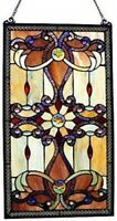 Abstract Brown Stained Glass Panel