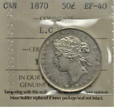 1870 LCW  Canada 50 cents ICCS graded EF-40
