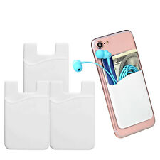 3X Silicone Universal Credit Card ID Holder Cell Phone Case Wallet Sticker White
