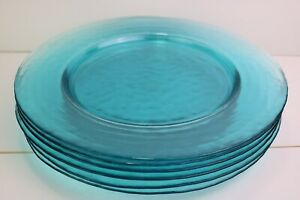 """Hammered Glass Dinner Plates Turquoise 11 3/4 """" Large Textured Set of 6 Aqua"""