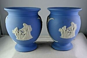 Pair Of Blue Jasperware Wedgwood Urn Vases White Embossed Figures