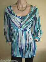 Per Una ~ Green & Blue Mix Striped Silky Scoop Neck 3/4 Sleeve Top ~  Size 12