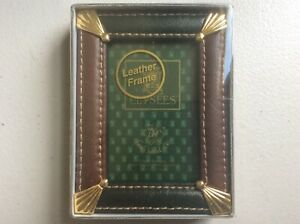 "Loui Michel Cie ELYSEES Collection Green & Black Leather Picture Frame 2"" x 3"""