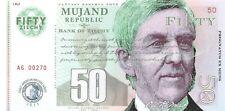 Mujand Republic Banknote 50 Zilchy 2013 Unc Specimen, Private, Note