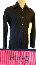 HUGO BOSS Red label pitch black dress casual shirt rare  s small fitted