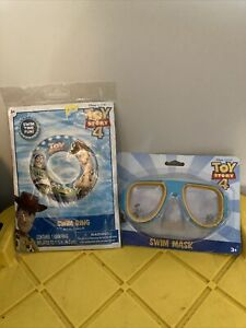 "Brand New Disney Pixar Toy Story 4 Inflatable Swim Pool Ring 17.5"" + Swim Mask"