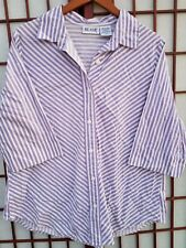 Womens Blair Button Front Blouse 3/4 Sleeve Shirt Purple White Stripe Size Large