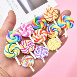 10PCS Soft Clay Simulation Lollipop Charms Pendant DIY Necklace Earrings Jewelry