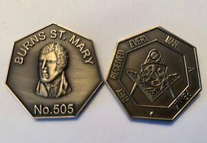 Scottish masonic token antique brass MMM token first issued April 2021.