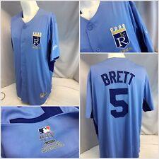 Kansas City Royals George Brett Jersey XL Majestic Blue Button Stitch YGI E9-63