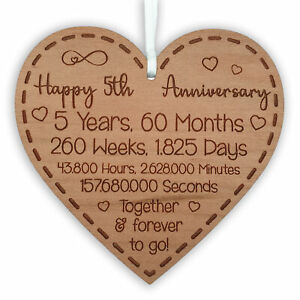 5th Year Wedding Anniversary Gift for Husband Wife Wooden Valentine's Day Plaque