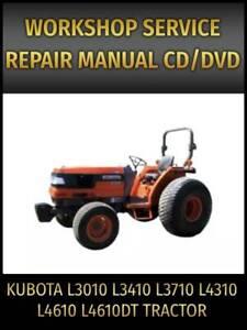 Kubota L3010 L3410 L3710 L4310 L4610 L4610DT Tractor Service Repair Manual on CD