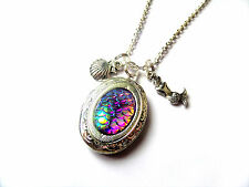 MERMAID Scales inspired silver tone oval Locket Necklace SEA Jewellery gift UK