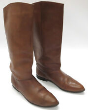 Liz Olemberg Equestrian Boots 6 Distressed Brown Leather Pointed Toe Knee High