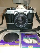 Canon Ae-1 Program 35mm Slr Film Camera with 50 mm lens motor drive filters Nr