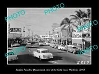 OLD HISTORIC PHOTO OF SURFERS PARADISE QUEENSLAND GOLD COAST HIGHWAY c1963 1