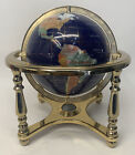 Blue Semi-Precious Stone World Globe on Brass Stand with Compass