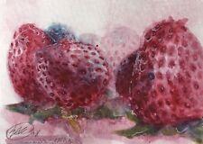 ACEO original painting strawberries Berries Red Watercolor Art card Originals US