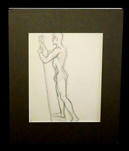 "'40s Hawaii Pencil Sketch ""Man w. Staff"" by Robert Lee Eskridge (1891-1975)(BeG)"