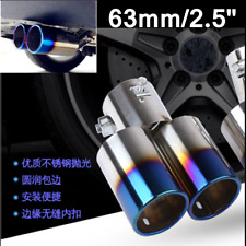 "63mm/2.5"" Stainless Steel Double Exhaust Muffler Tail Tip Round Pipe For Car SUV"