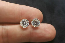 Brilliant Solitaire Man Made Diamond Earrings 5.5Ct 14K Yellow Gold Studs