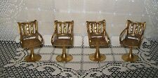 4 x VINTAGE MINIATURE HAND CRAFTED BRASS TONE PEDESTAL ARM CHAIRS 6.5cm tall