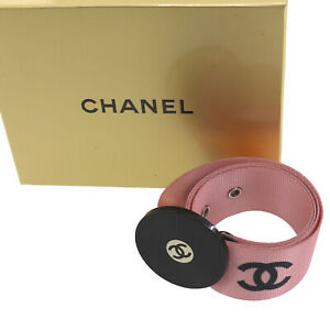 CHANEL Logos Used Waist Belt Nylon Canvas Pink Black Silver 04P Auth #AE450 O