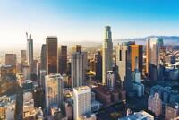 Downtown Los Angeles Skyline Sunset Aerial Photo Mural inch Poster 36x54 inch