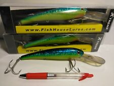 """3 FISHING SALTWATER TROLLING lure lot 9"""" GROUPER BIG GAME OFF SHORE BLUE DOLPHIN"""