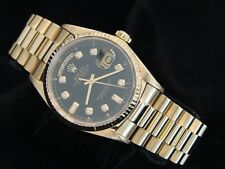 Mens Rolex Day-Date President 18K Yellow Gold Watch Black Diamond Dial 18038