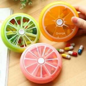 New Rotating Travel Pill Box Medicine Tablet Storage Vitamin Organiser Holder UK
