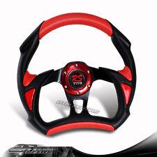JDM 6 Hole/Lug 320mm Black + Red PVC Leather Racing Steering Wheel Universal 1