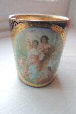 ANTIQUE  Hand Painted Gold Trim Cobalt Blue Cup 2 X 1.5 INCH VERY PRETTY 1920-IS