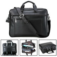 "Large Men's Leather 17"" Laptop Luggage Briefcase Messenger Shoulder Bag Satchel"