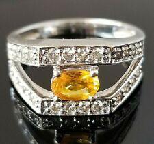 Modern Fashion Yellow Sapphire Diamond 18k white gold ring