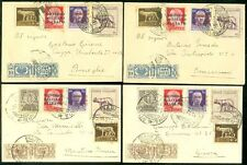 EDW1949SELL : ITALY Very unusual group of 4 mixed franking 1941 to diff. cities.