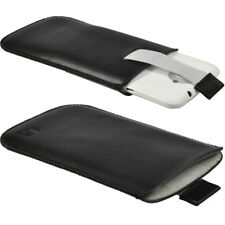 Black Leather Pouch for HTC One X + Plus Android Case Cover Holder Bumper 1