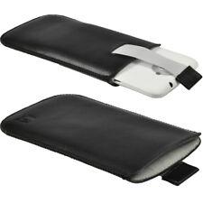 Schwarz Leder Tasche für HTC One X + Plus Android Etui Hülle Halter Stoßstange 1