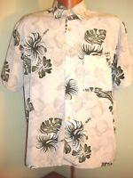 Mens XG Island Tropics Hawaiian Short Sleeve Button Up Shirt Green Floral Size M