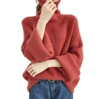 Women's Knitwear Turtleneck Tops Loose Long Sleeve Pullover Sweater Jumper New B
