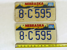 2 Nebraska 1996 License Plates 8-C 595 Pair Matching Chimney Rock Omaha Skyline
