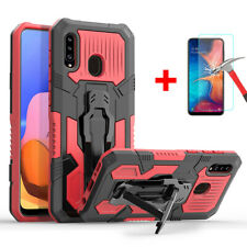 For Samsung Galaxy A20 A50 A70 A10 Case Shockproof Armor Cover + Tempered Glass