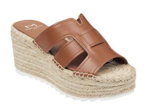 Marc Fisher Womens Robbyn Dark Natural Leather Espadrilles Wedge Sandals US9.5